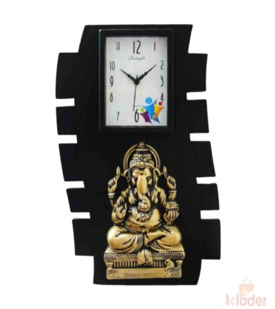 Black Colour Clock with Ganesh Statue
