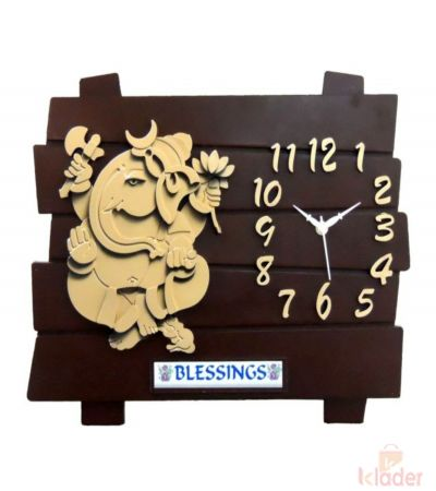 Cafe Club Clock wth Ganesh Statue 3 Piece