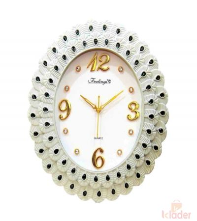 Trendy Clock with Stones 4 Piece