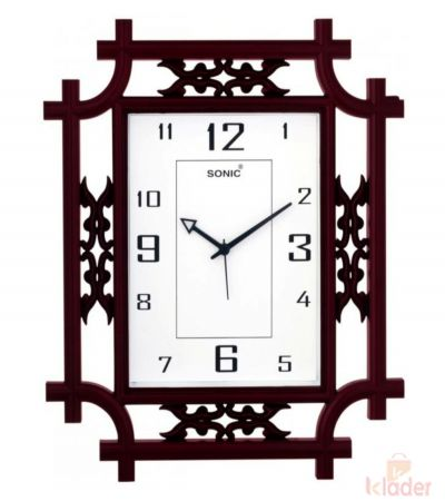 Sonic Wall Clock with Squared Fashion Frame 3 Piece